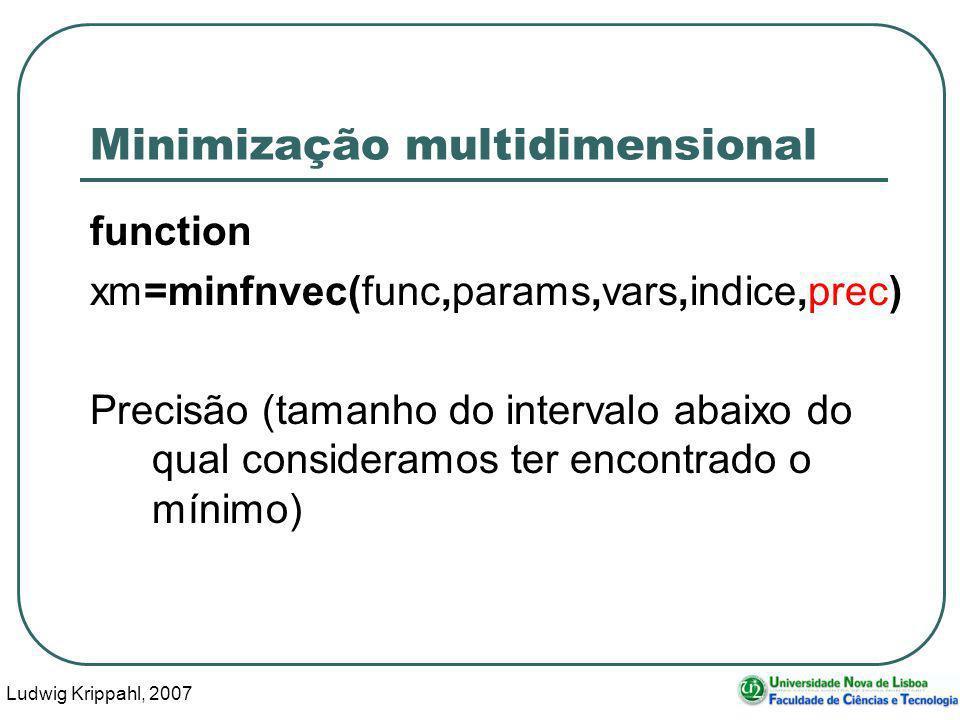 Ludwig Krippahl, 2007 43 Minimização multidimensional function xm=minfnvec(func,params,vars,indice,prec) Precisão (tamanho do intervalo abaixo do qual consideramos ter encontrado o mínimo)