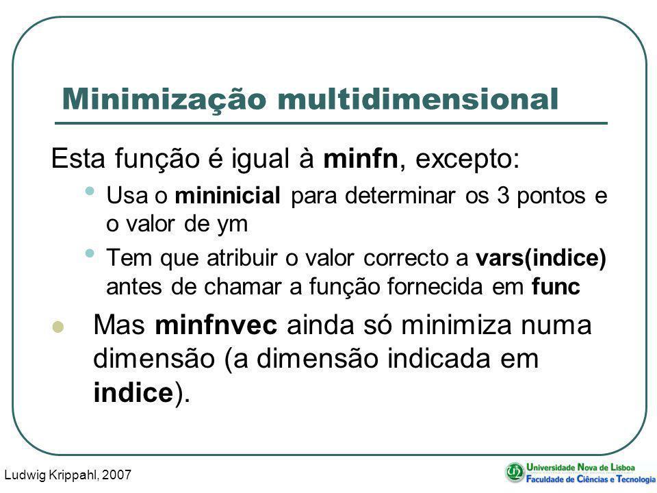 Ludwig Krippahl, 2007 46 Minimização multidimensional Esta função é igual à minfn, excepto: Usa o mininicial para determinar os 3 pontos e o valor de ym Tem que atribuir o valor correcto a vars(indice) antes de chamar a função fornecida em func Mas minfnvec ainda só minimiza numa dimensão (a dimensão indicada em indice).