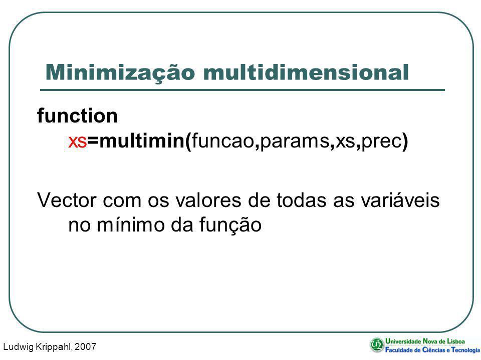 Ludwig Krippahl, 2007 48 Minimização multidimensional function xs=multimin(funcao,params,xs,prec) Vector com os valores de todas as variáveis no mínimo da função