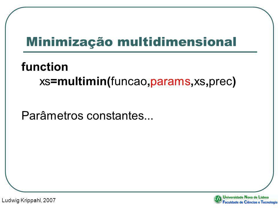 Ludwig Krippahl, 2007 50 Minimização multidimensional function xs=multimin(funcao,params,xs,prec) Parâmetros constantes...
