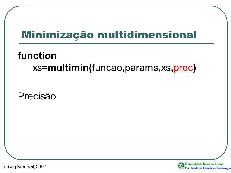Ludwig Krippahl, 2007 52 Minimização multidimensional function xs=multimin(funcao,params,xs,prec) Precisão