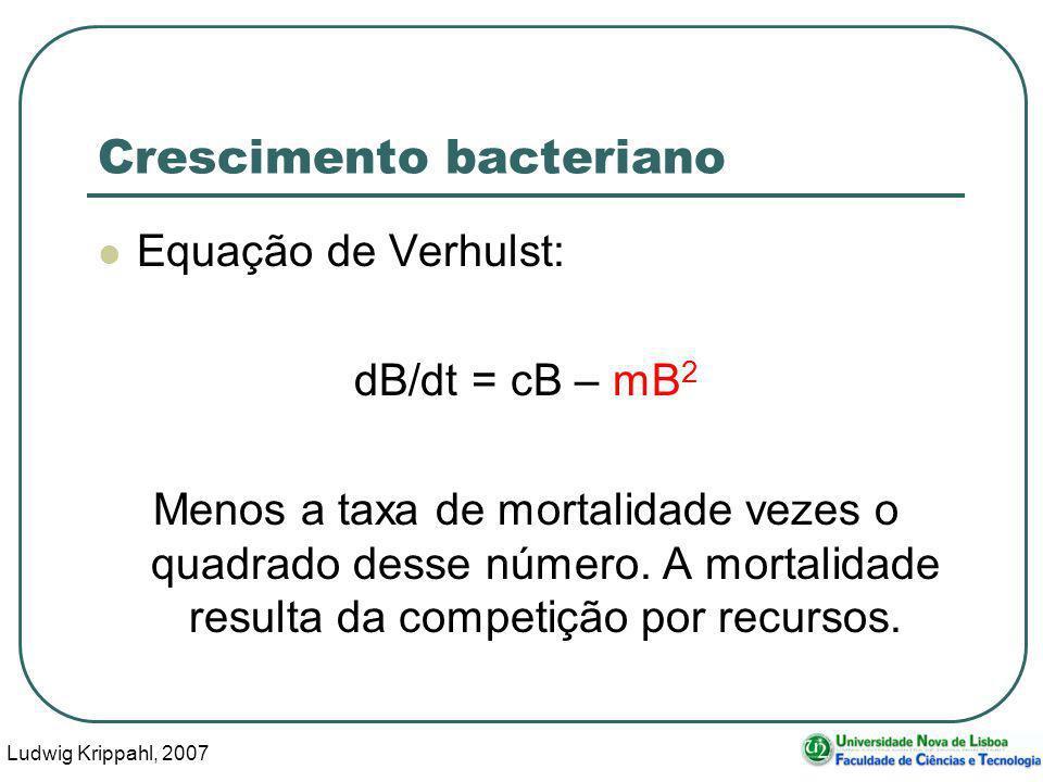 Ludwig Krippahl, 2007 6 Crescimento bacteriano Equação de Verhulst: dB/dt = cB – mB 2 Menos a taxa de mortalidade vezes o quadrado desse número.