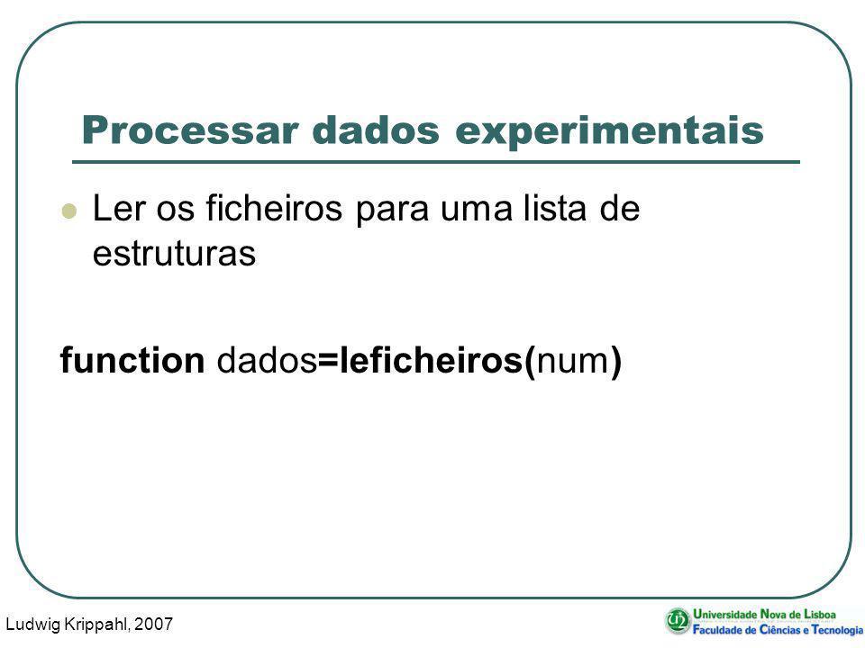 Ludwig Krippahl, 2007 79 Processar dados experimentais Ler os ficheiros para uma lista de estruturas function dados=leficheiros(num)