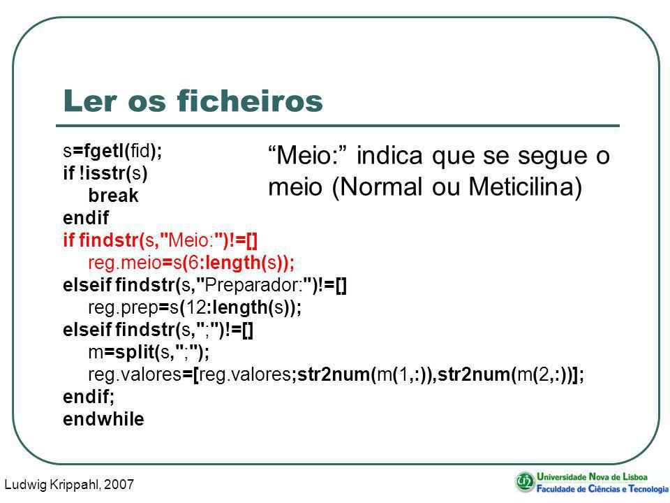 Ludwig Krippahl, 2007 85 Ler os ficheiros s=fgetl(fid); if !isstr(s) break endif if findstr(s,