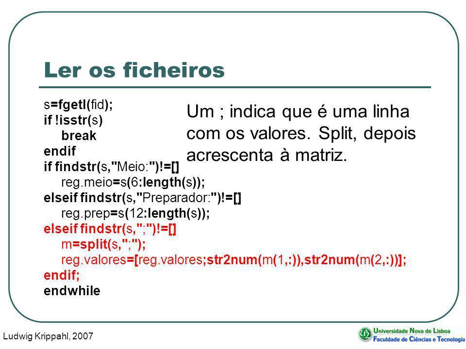 Ludwig Krippahl, 2007 87 Ler os ficheiros s=fgetl(fid); if !isstr(s) break endif if findstr(s, Meio: )!=[] reg.meio=s(6:length(s)); elseif findstr(s, Preparador: )!=[] reg.prep=s(12:length(s)); elseif findstr(s, ; )!=[] m=split(s, ; ); reg.valores=[reg.valores;str2num(m(1,:)),str2num(m(2,:))]; endif; endwhile Um ; indica que é uma linha com os valores.