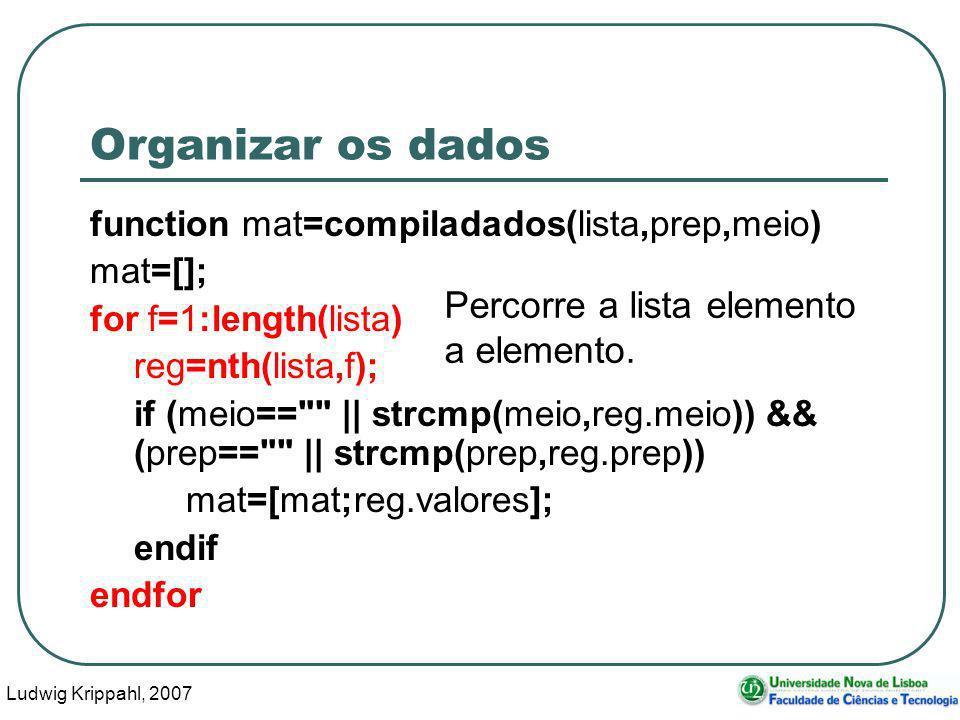 Ludwig Krippahl, 2007 90 Organizar os dados function mat=compiladados(lista,prep,meio) mat=[]; for f=1:length(lista) reg=nth(lista,f); if (meio== || strcmp(meio,reg.meio)) && (prep== || strcmp(prep,reg.prep)) mat=[mat;reg.valores]; endif endfor Percorre a lista elemento a elemento.