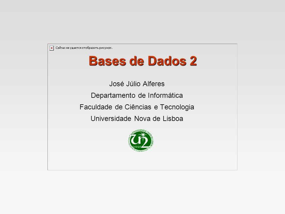 Bases de Dados 2 José Júlio Alferes Departamento de Informática Faculdade de Ciências e Tecnologia Universidade Nova de Lisboa