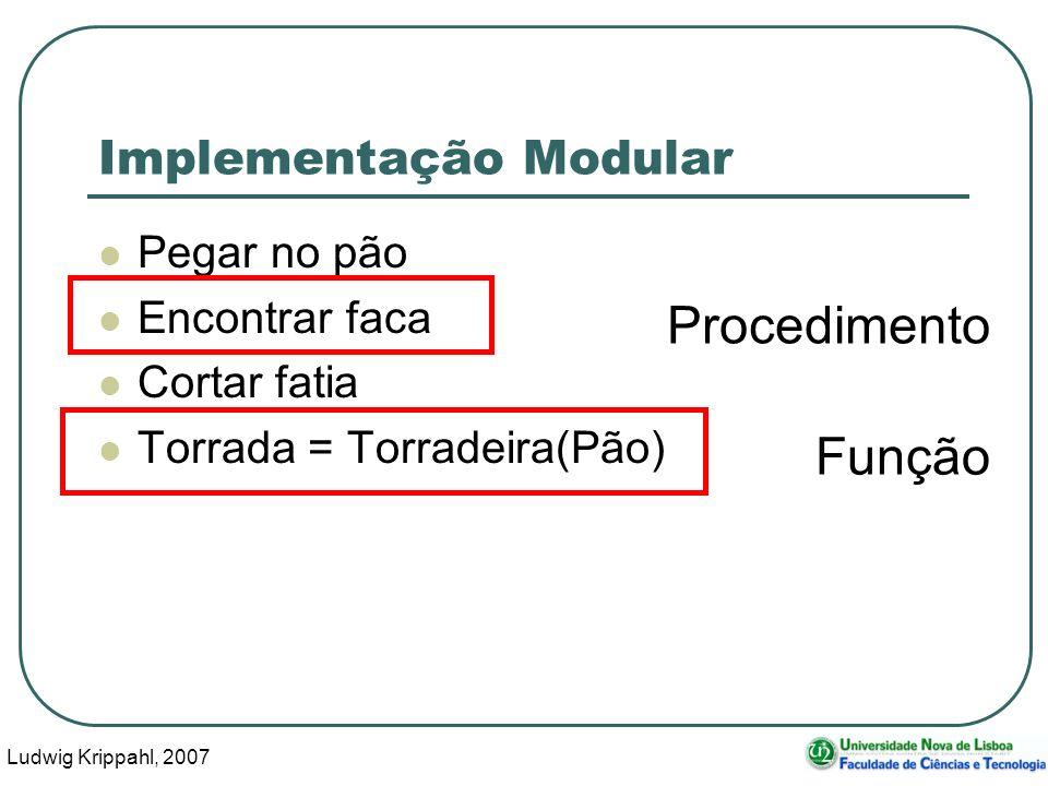 Ludwig Krippahl, 2007 16 Implementação Modular Pegar no pão Encontrar faca Cortar fatia Torrada = Torradeira(Pão) Procedimento Função