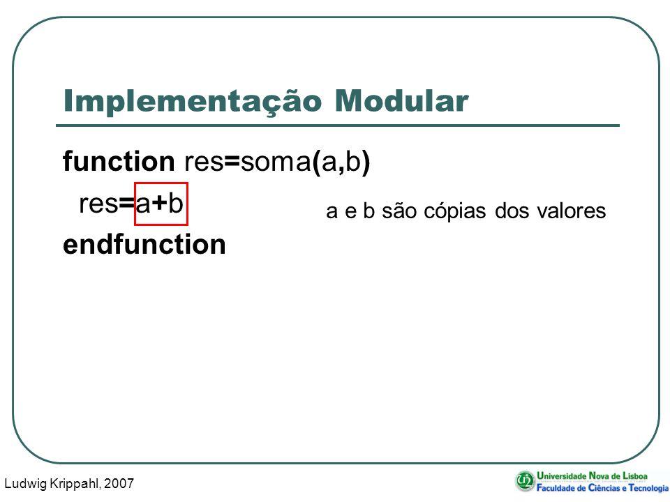 Ludwig Krippahl, 2007 32 Implementação Modular function res=soma(a,b) res=a+b endfunction a e b são cópias dos valores