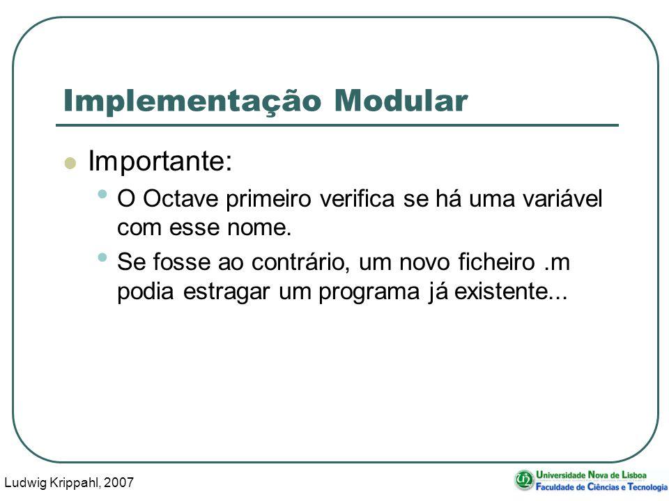 Ludwig Krippahl, 2007 38 Implementação Modular Importante: O Octave primeiro verifica se há uma variável com esse nome. Se fosse ao contrário, um novo