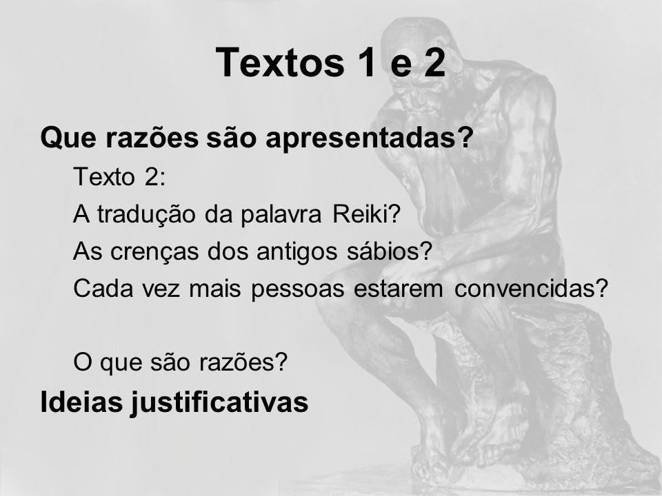 Textos 1 e 2 As razões suportam a conclusão?