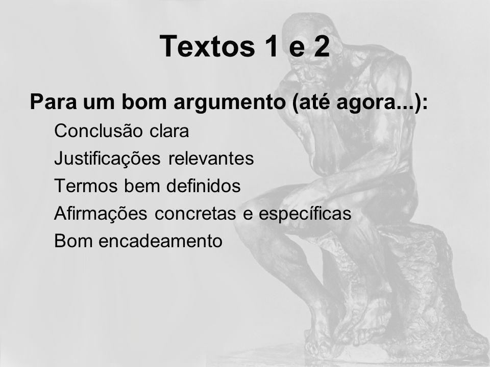 Textos 1 e 2 Para um bom argumento (até agora...): Conclusão clara Justificações relevantes Termos bem definidos Afirmações concretas e específicas Bo