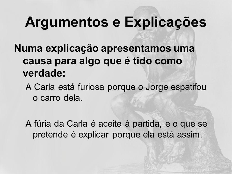 Argumentos e Explicações Atenção: Pode depender do contexto Uma explicação pode ser a conclusão de um argumento (ou vice versa...)