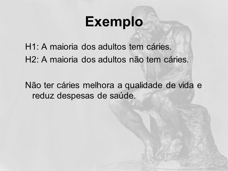 Exemplo H1: A maioria dos adultos tem cáries.H2: A maioria dos adultos não tem cáries.