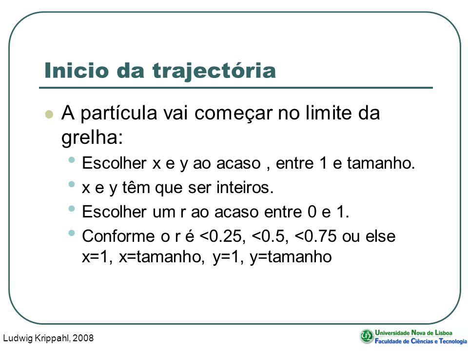 Ludwig Krippahl, 2008 11 Inicio da trajectória A partícula vai começar no limite da grelha: Escolher x e y ao acaso, entre 1 e tamanho.