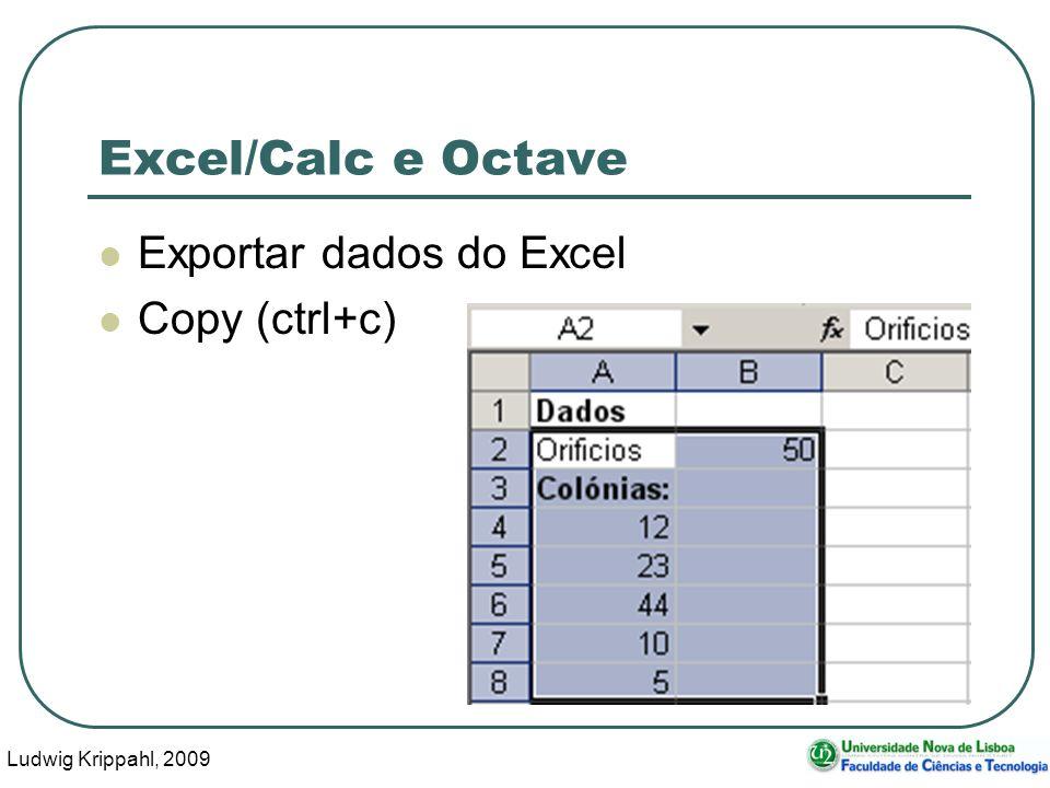 Ludwig Krippahl, 2009 10 Excel/Calc e Octave Exportar dados do Excel Copy (ctrl+c)