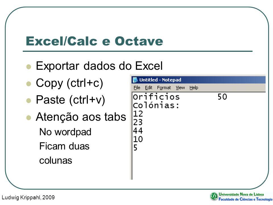 Ludwig Krippahl, 2009 11 Excel/Calc e Octave Exportar dados do Excel Copy (ctrl+c) Paste (ctrl+v) Atenção aos tabs No wordpad Ficam duas colunas
