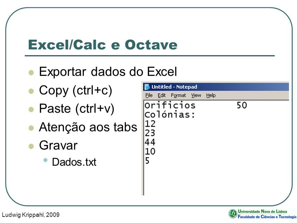 Ludwig Krippahl, 2009 12 Excel/Calc e Octave Exportar dados do Excel Copy (ctrl+c) Paste (ctrl+v) Atenção aos tabs Gravar Dados.txt