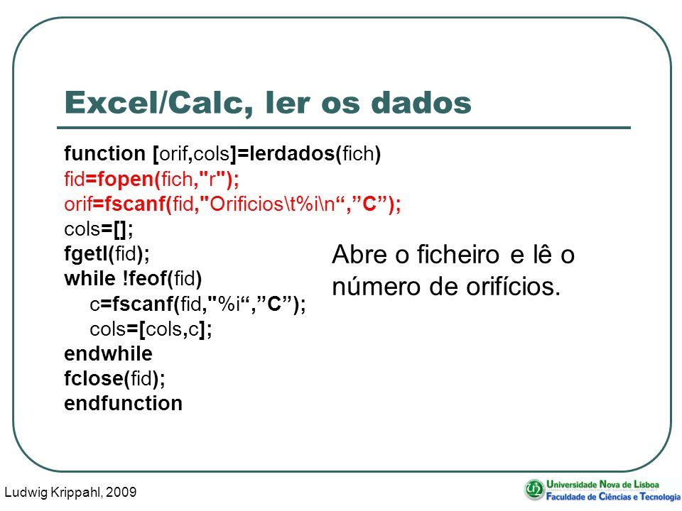 Ludwig Krippahl, 2009 13 Excel/Calc, ler os dados function [orif,cols]=lerdados(fich) fid=fopen(fich,