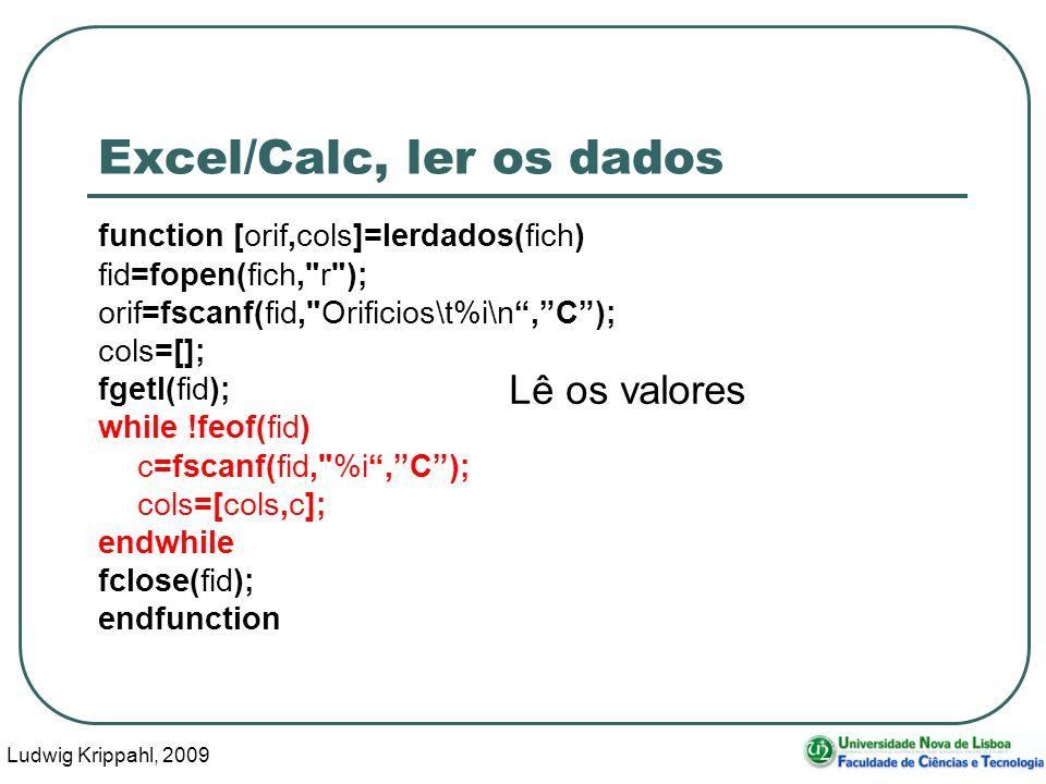 Ludwig Krippahl, 2009 15 Excel/Calc, ler os dados function [orif,cols]=lerdados(fich) fid=fopen(fich,