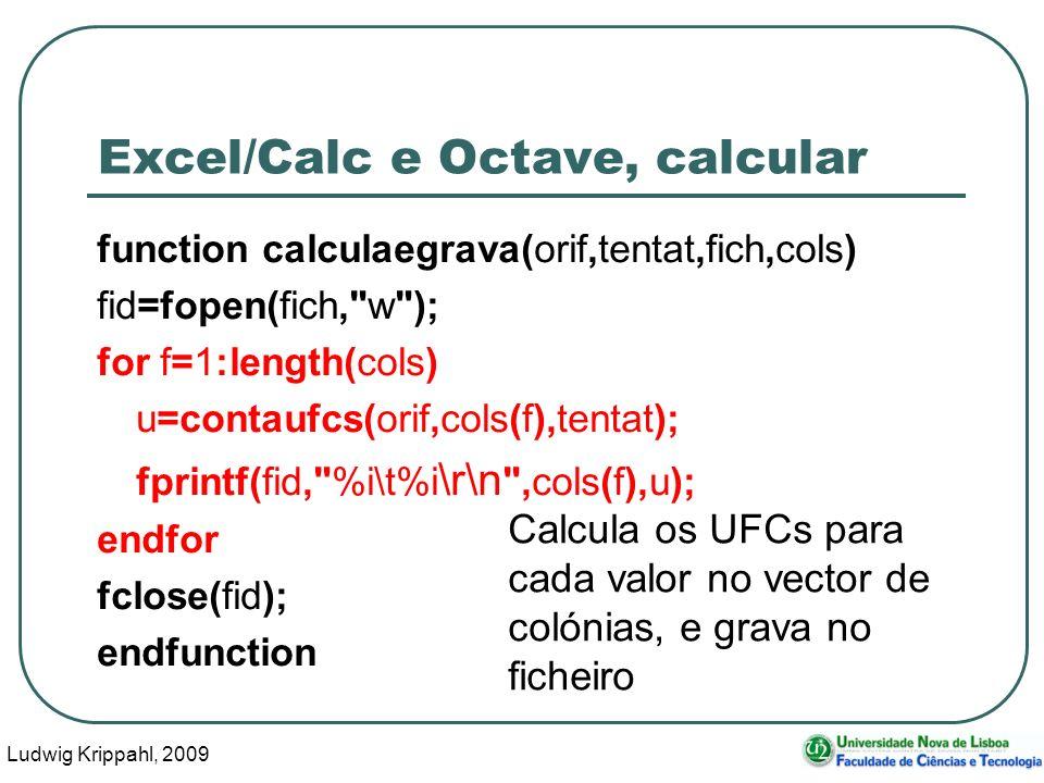 Ludwig Krippahl, 2009 16 Excel/Calc e Octave, calcular function calculaegrava(orif,tentat,fich,cols) fid=fopen(fich,