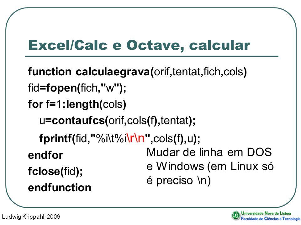 Ludwig Krippahl, 2009 17 Excel/Calc e Octave, calcular function calculaegrava(orif,tentat,fich,cols) fid=fopen(fich,