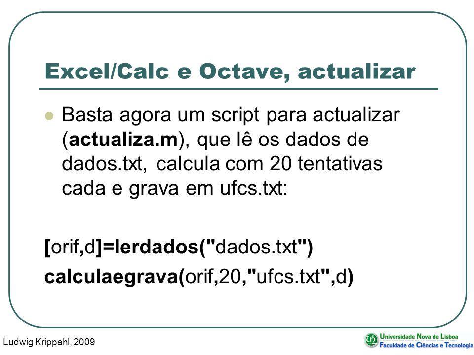 Ludwig Krippahl, 2009 19 Excel/Calc e Octave, actualizar Basta agora um script para actualizar (actualiza.m), que lê os dados de dados.txt, calcula co