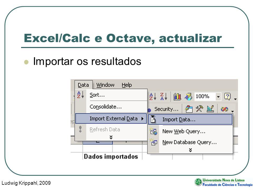 Ludwig Krippahl, 2009 21 Excel/Calc e Octave, actualizar Importar os resultados