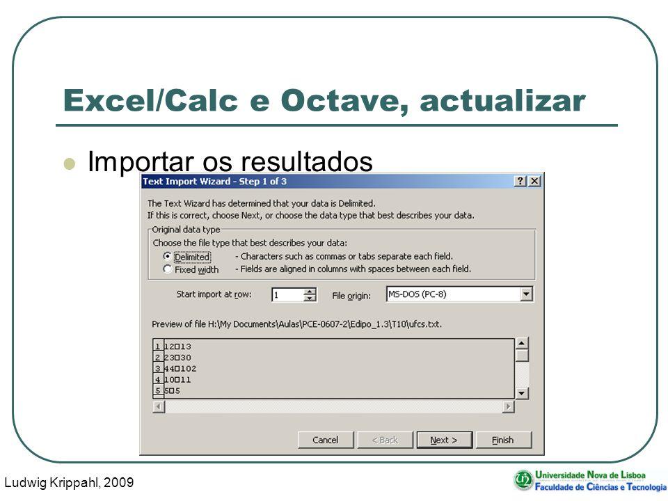 Ludwig Krippahl, 2009 22 Excel/Calc e Octave, actualizar Importar os resultados