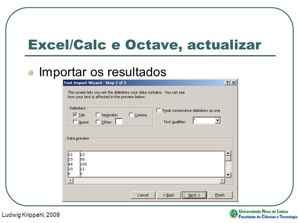 Ludwig Krippahl, 2009 23 Excel/Calc e Octave, actualizar Importar os resultados