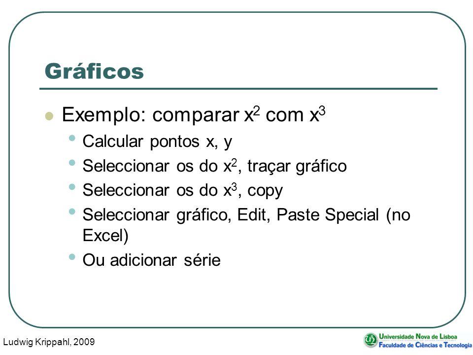 Ludwig Krippahl, 2009 32 Gráficos Exemplo: comparar x 2 com x 3 Calcular pontos x, y Seleccionar os do x 2, traçar gráfico Seleccionar os do x 3, copy