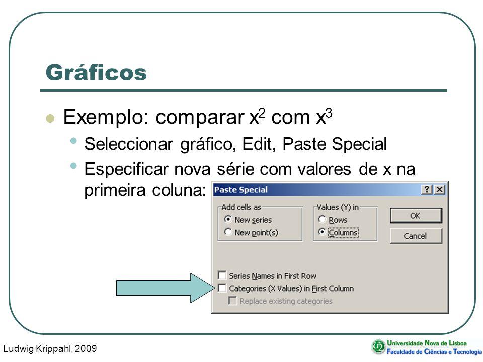 Ludwig Krippahl, 2009 33 Gráficos Exemplo: comparar x 2 com x 3 Seleccionar gráfico, Edit, Paste Special Especificar nova série com valores de x na pr