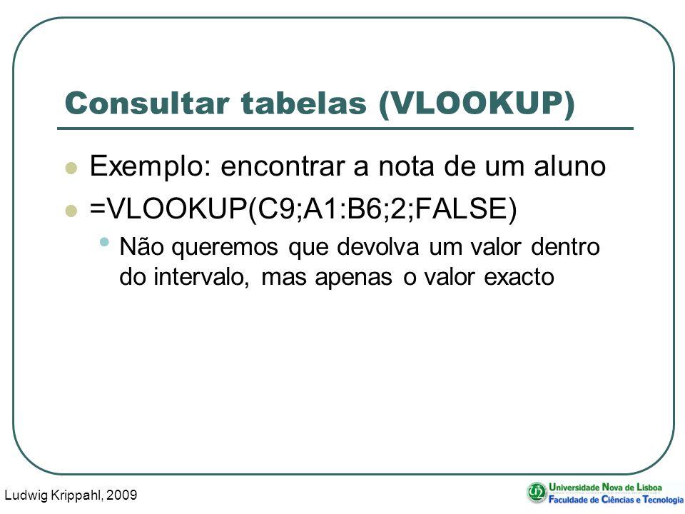 Ludwig Krippahl, 2009 35 Consultar tabelas (VLOOKUP) Exemplo: encontrar a nota de um aluno =VLOOKUP(C9;A1:B6;2;FALSE) Não queremos que devolva um valo