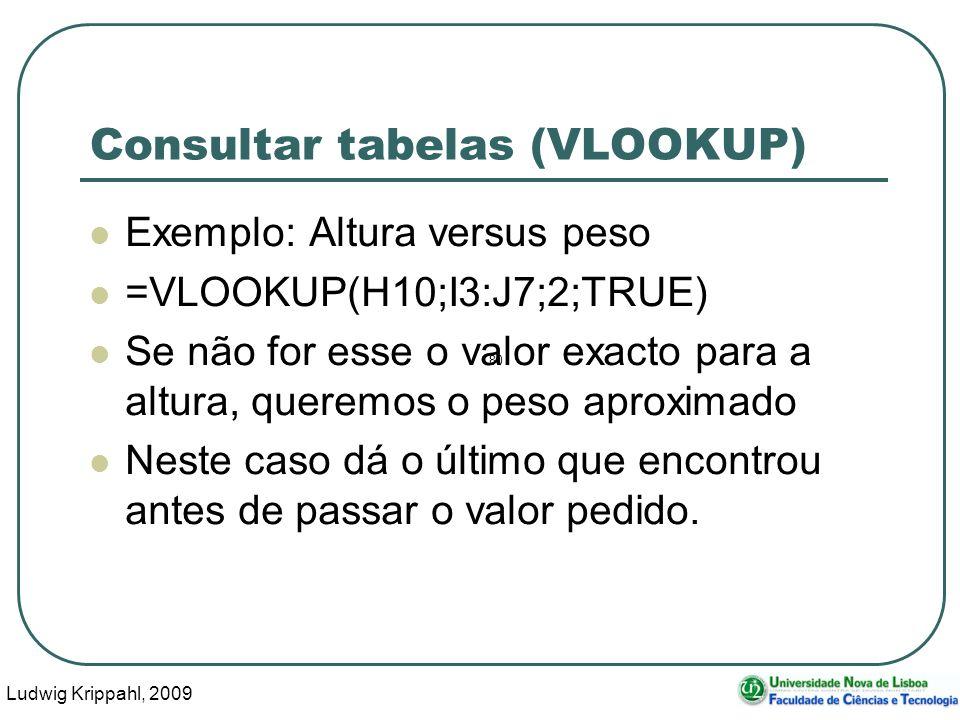 Ludwig Krippahl, 2009 36 Consultar tabelas (VLOOKUP) Exemplo: Altura versus peso =VLOOKUP(H10;I3:J7;2;TRUE) Se não for esse o valor exacto para a altu