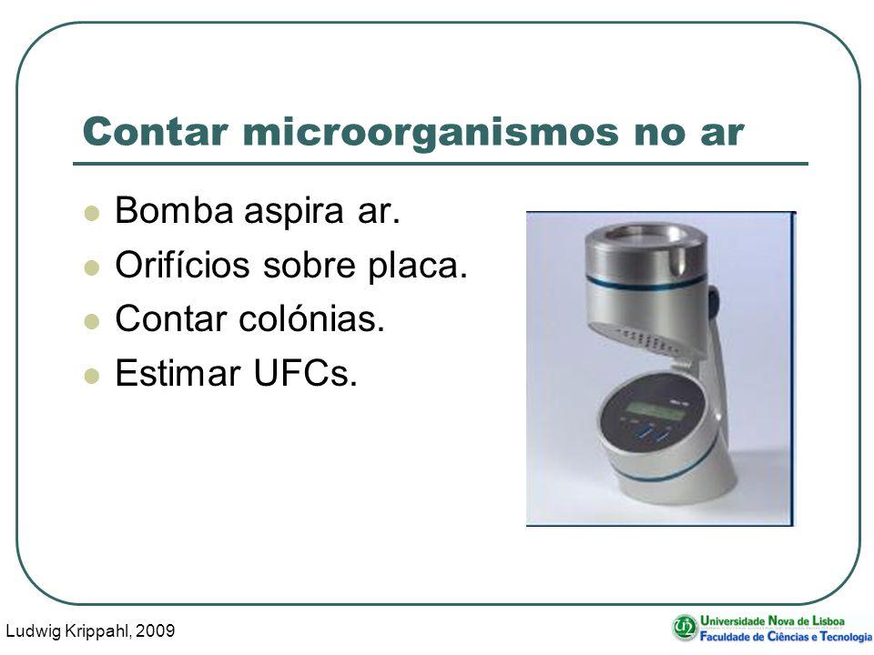Ludwig Krippahl, 2009 5 Contar microorganismos no ar Problema: Podem entrar vários esporos ou bactérias pelo mesmo orifício, resultando numa só colónia.