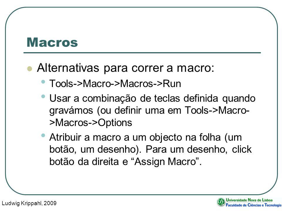 Ludwig Krippahl, 2009 44 Macros Alternativas para correr a macro: Tools->Macro->Macros->Run Usar a combinação de teclas definida quando gravámos (ou d
