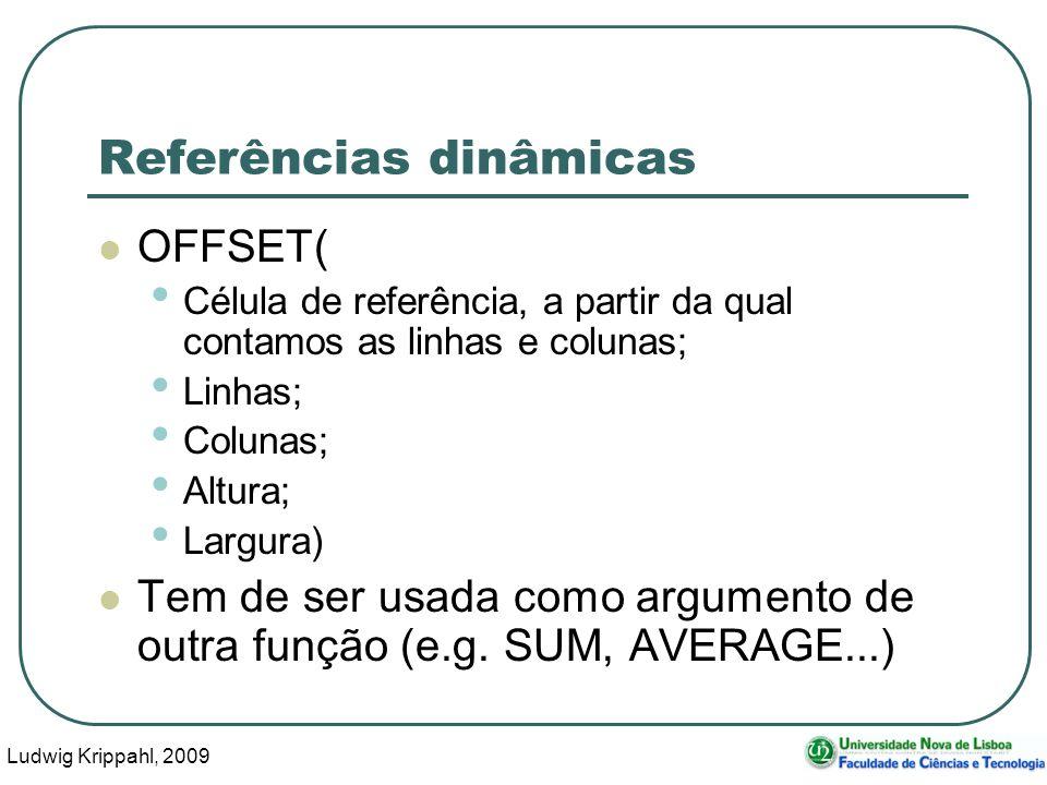 Ludwig Krippahl, 2009 50 Referências dinâmicas OFFSET( Célula de referência, a partir da qual contamos as linhas e colunas; Linhas; Colunas; Altura; L