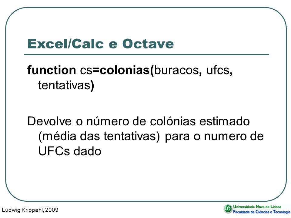 Ludwig Krippahl, 2009 17 Excel/Calc e Octave, calcular function calculaegrava(orif,tentat,fich,cols) fid=fopen(fich, w ); for f=1:length(cols) u=contaufcs(orif,cols(f),tentat); fprintf(fid, %i\t%i \r\n ,cols(f),u); endfor fclose(fid); endfunction Mudar de linha em DOS e Windows (em Linux só é preciso \n)