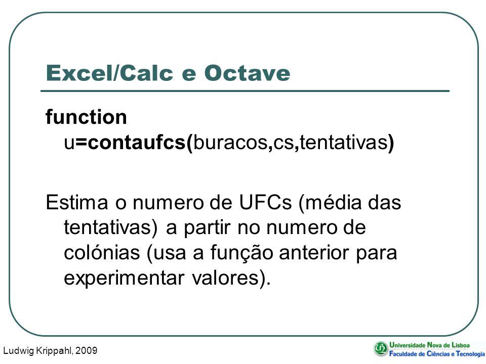 Ludwig Krippahl, 2009 7 Excel/Calc e Octave function u=contaufcs(buracos,cs,tentativas) Estima o numero de UFCs (média das tentativas) a partir no num