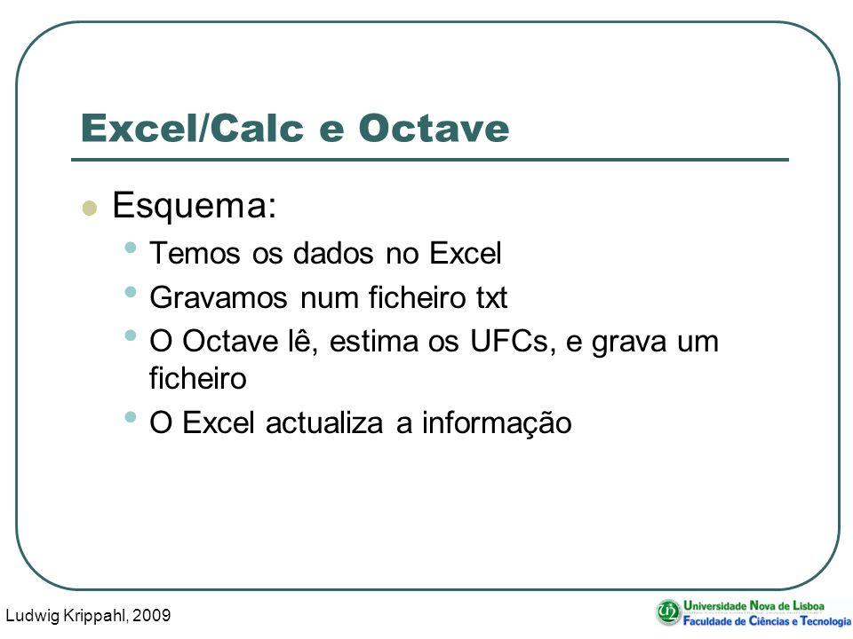 Ludwig Krippahl, 2009 19 Excel/Calc e Octave, actualizar Basta agora um script para actualizar (actualiza.m), que lê os dados de dados.txt, calcula com 20 tentativas cada e grava em ufcs.txt: [orif,d]=lerdados( dados.txt ) calculaegrava(orif,20, ufcs.txt ,d)