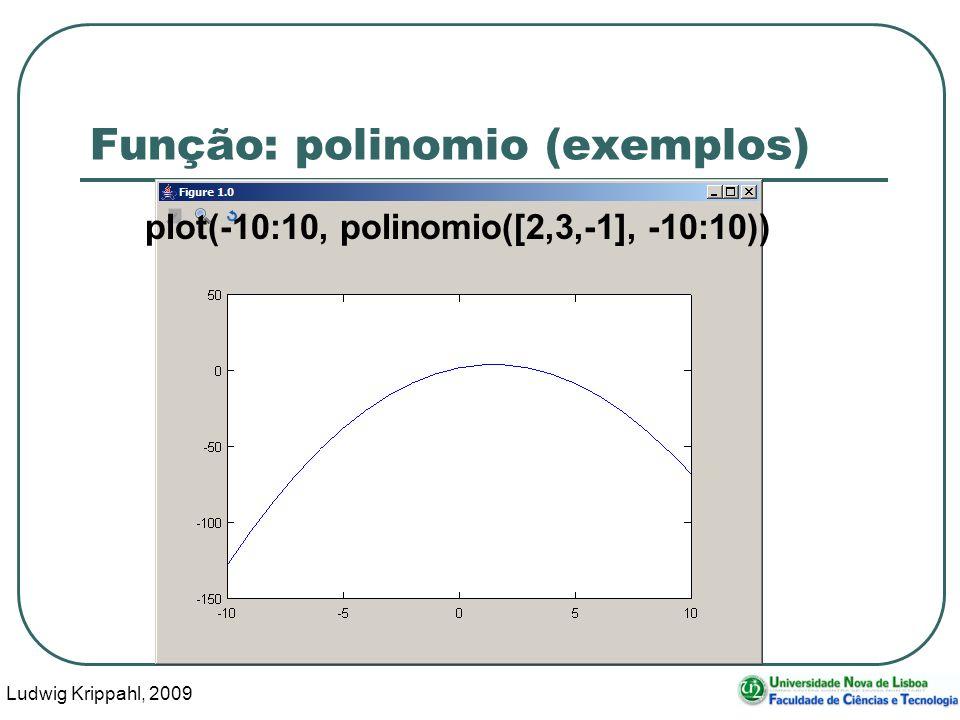 Ludwig Krippahl, 2009 20 Função: polinomio (exemplos) plot(-10:10, polinomio([2,3,-1], -10:10))