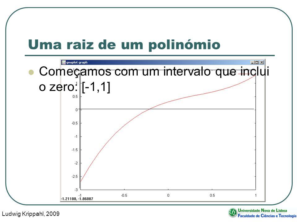 Ludwig Krippahl, 2009 23 Uma raiz de um polinómio Começamos com um intervalo que inclui o zero: [-1,1]
