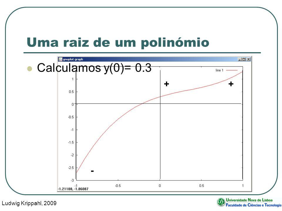 Ludwig Krippahl, 2009 26 - + Uma raiz de um polinómio Calculamos y(0)= 0.3 +