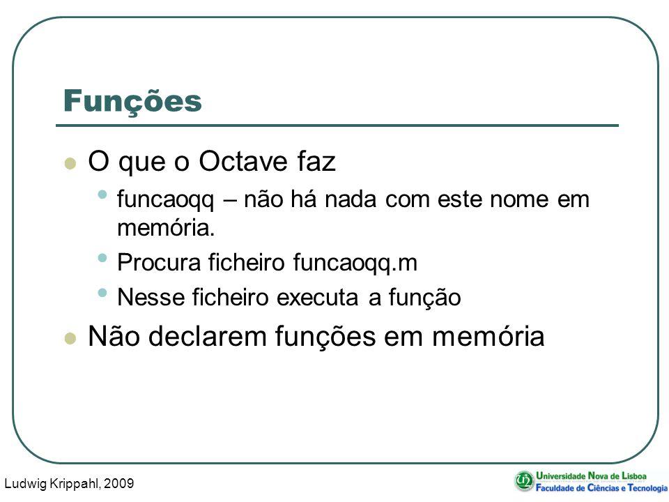 Ludwig Krippahl, 2009 4 Funções O que o Octave faz funcaoqq – não há nada com este nome em memória.