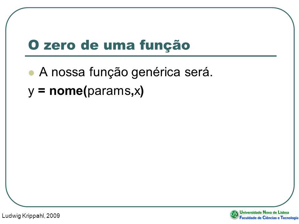 Ludwig Krippahl, 2009 45 O zero de uma função A nossa função genérica será. y = nome(params,x)