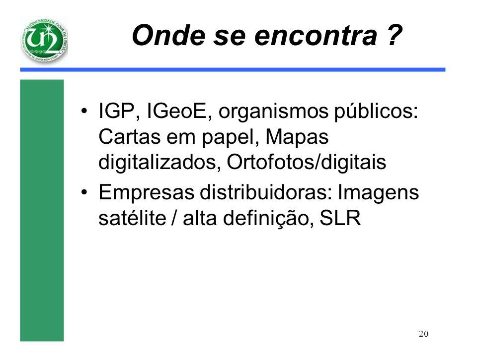20 Onde se encontra ? IGP, IGeoE, organismos públicos: Cartas em papel, Mapas digitalizados, Ortofotos/digitais Empresas distribuidoras: Imagens satél