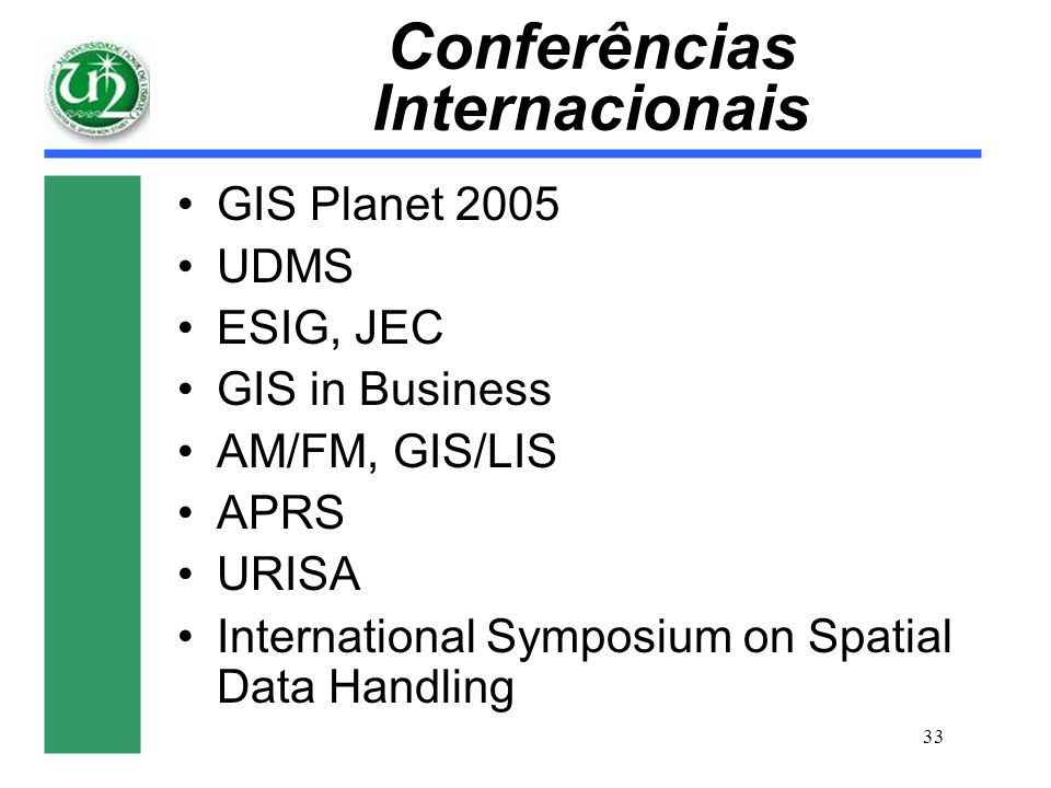 33 Conferências Internacionais GIS Planet 2005 UDMS ESIG, JEC GIS in Business AM/FM, GIS/LIS APRS URISA International Symposium on Spatial Data Handli