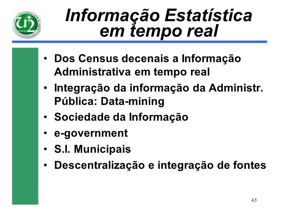 43 Informação Estatística em tempo real Dos Census decenais a Informação Administrativa em tempo real Integração da informação da Administr. Pública: