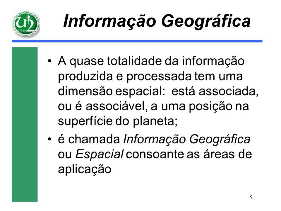 5 Informação Geográfica A quase totalidade da informação produzida e processada tem uma dimensão espacial: está associada, ou é associável, a uma posi