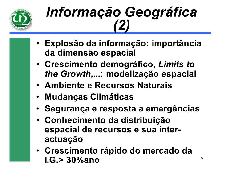 6 Informação Geográfica (2) Explosão da informação: importância da dimensão espacial Crescimento demográfico, Limits to the Growth,...: modelização es